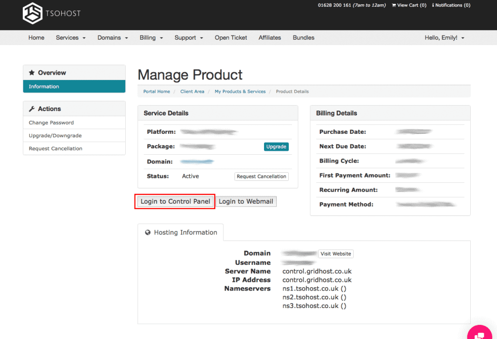 TSOHosting Manage Product. Login to Control Panel.