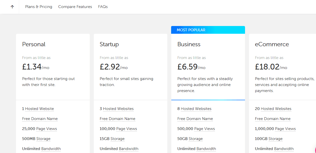 TSOHost cloud hosting different packages screenshot.