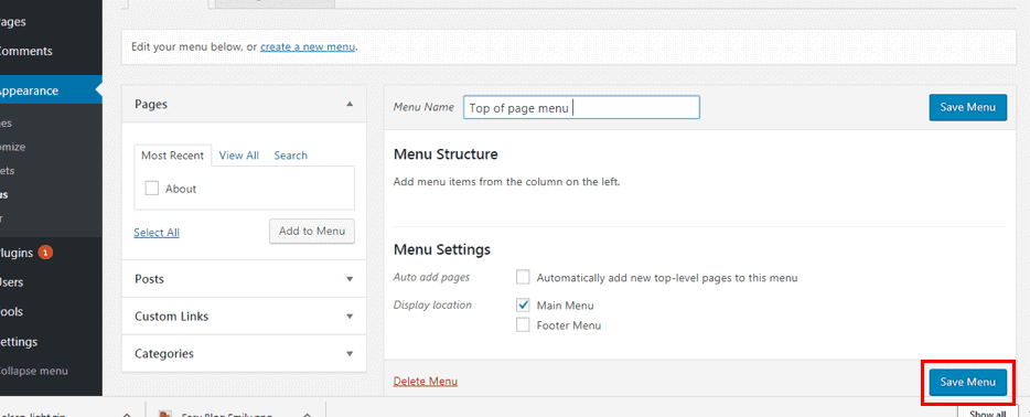 How to install and edit a free theme in WordPress. Create menu, save menu.
