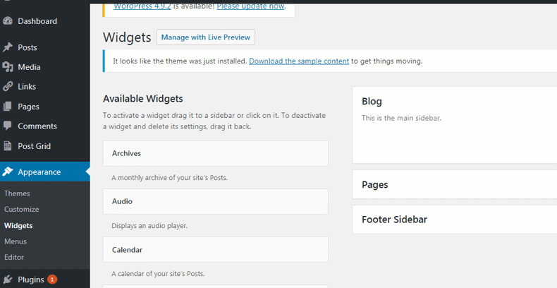 How to start a blog. Widgets available with theme.
