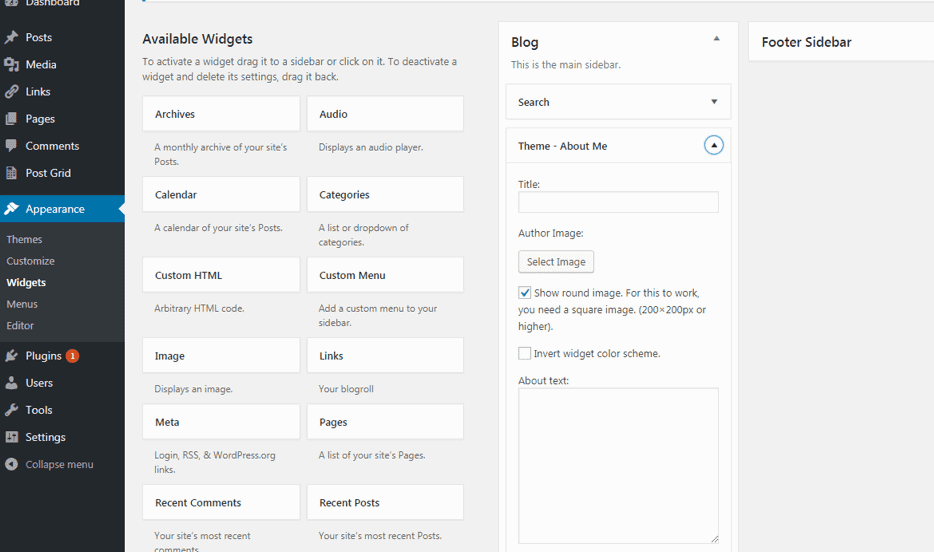 How to start a blog. Fill in sidebar widgets.