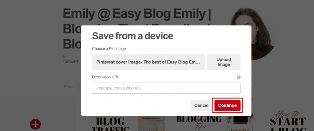How to create a cover image for Pinterest boards.