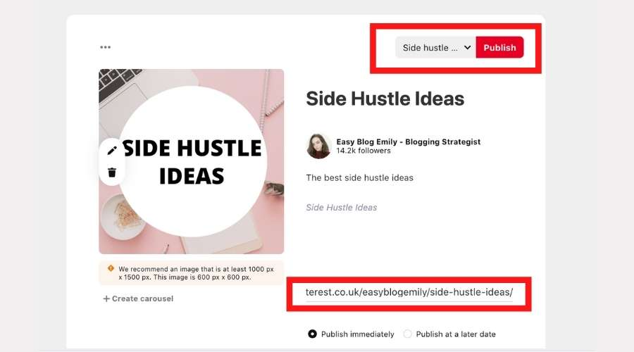 Upload your board cover image to Pinterest