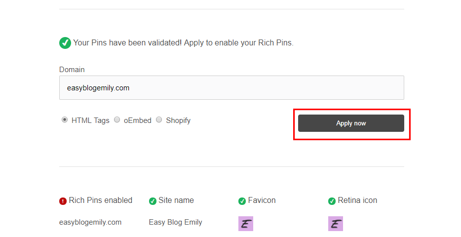 How to get rich pins. Your pins have been validated, click 'apply now'.