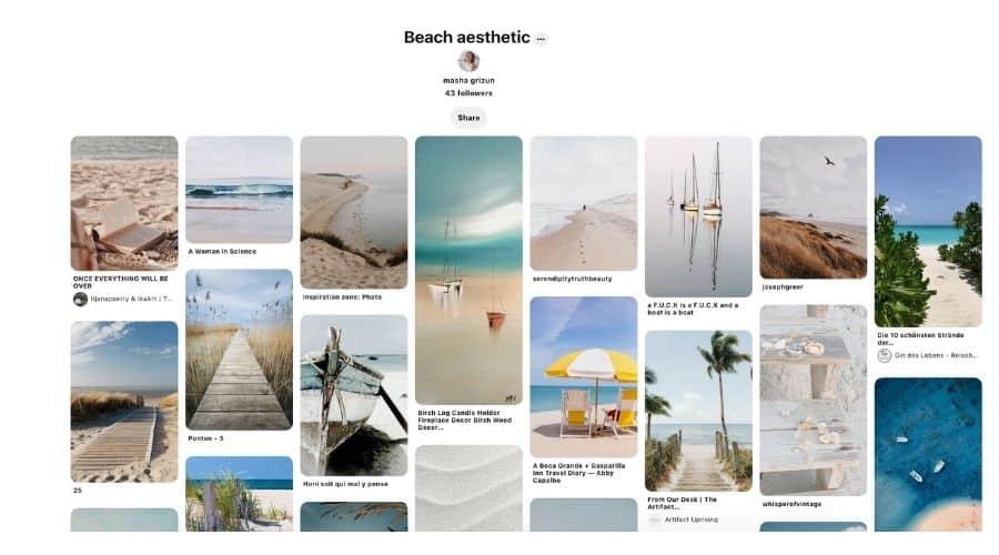 Beach aesthetic Pinterest board