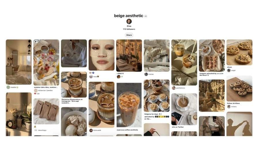 Beige aesthetic Pinterest board