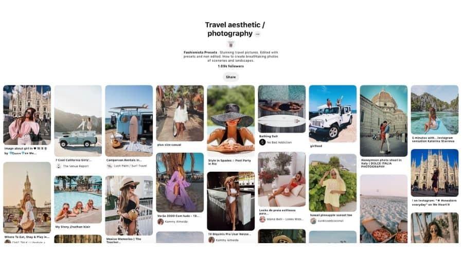 Travel aesthetic Pinterest board
