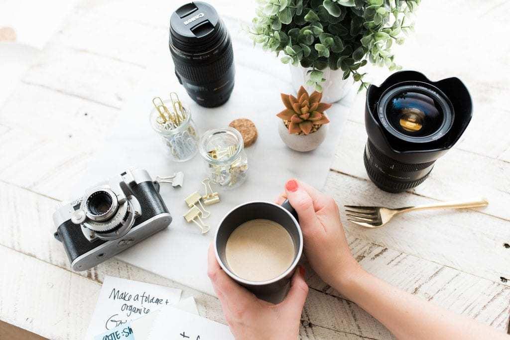 desk and camera