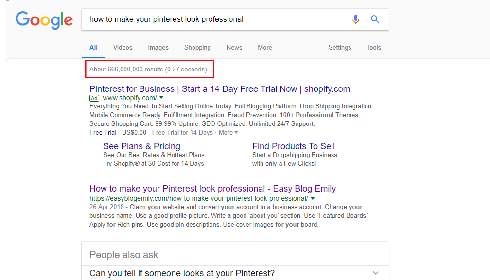 how to make your pinterest look professional search number of results
