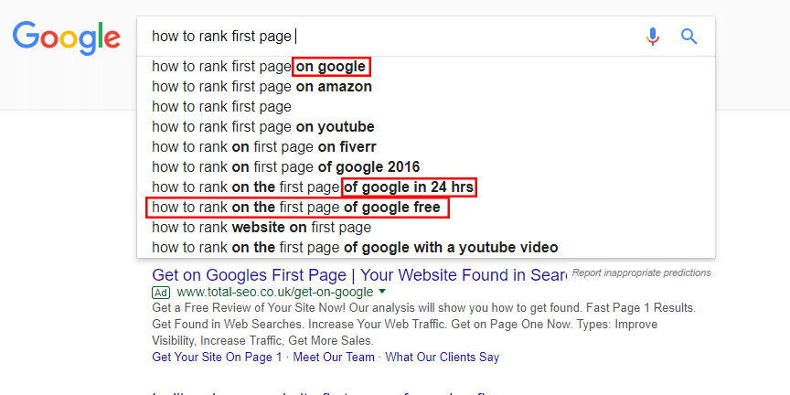 how to rank first page search suggestions