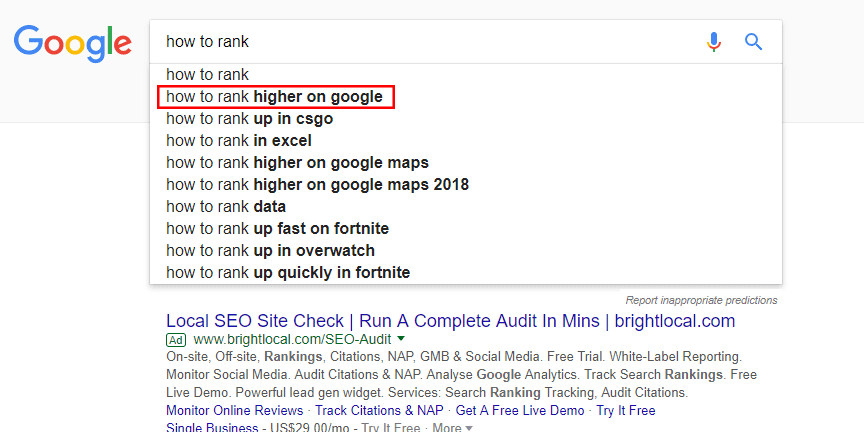 how to rank search suggestion