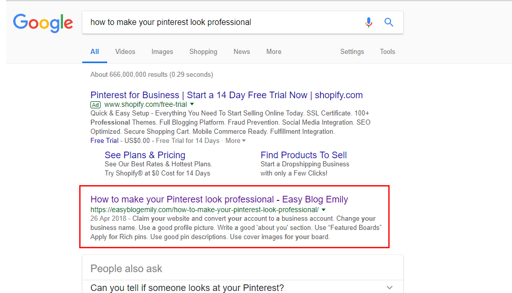 search result google how to make your pinterest look professional