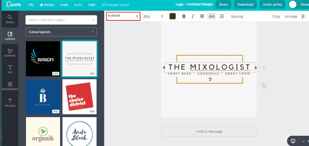 Canva design changing font