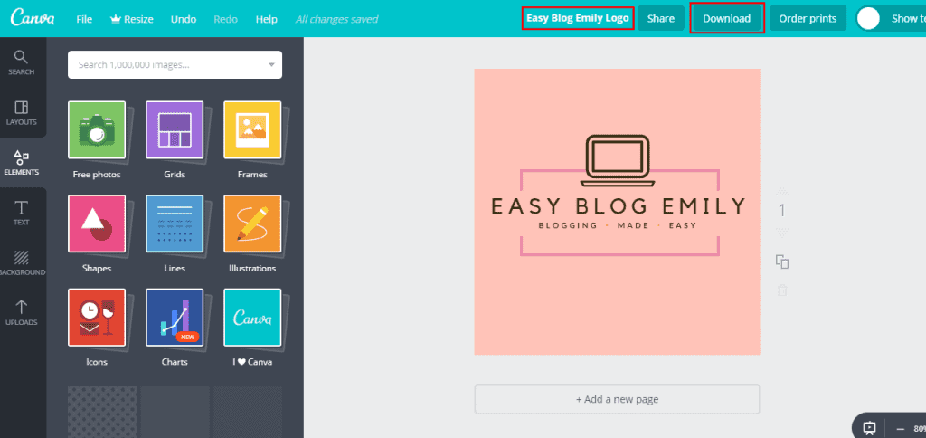 Canva rename and download
