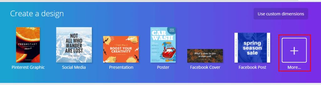 Canva create a design + button