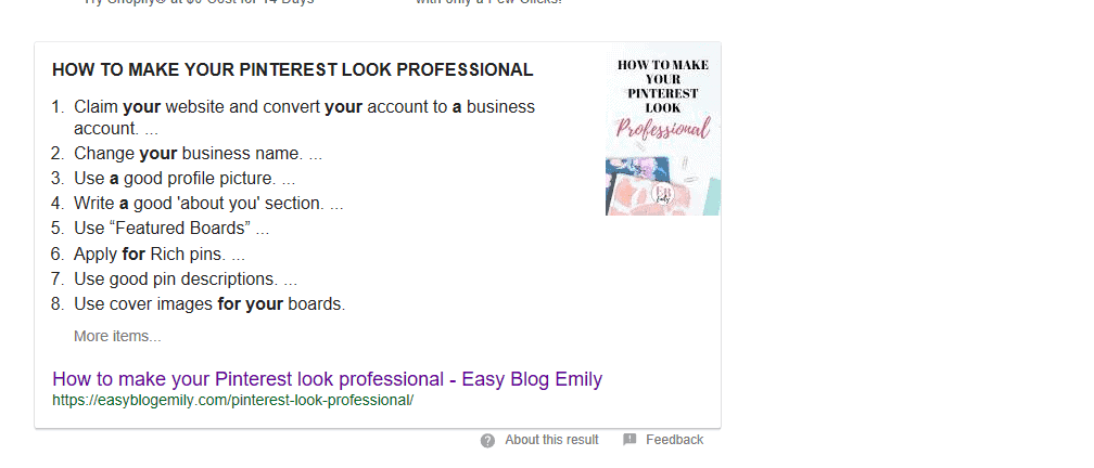 how to make your pinterest look professional Google excerpt
