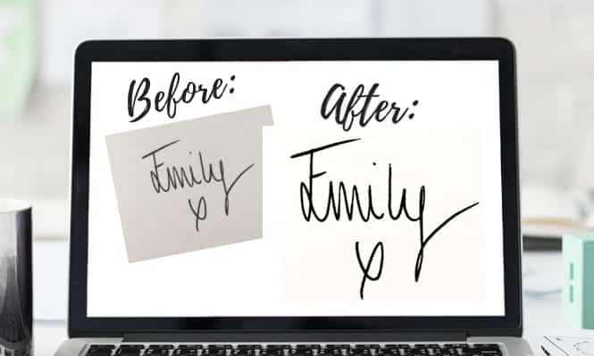 Digital signature before and after close up