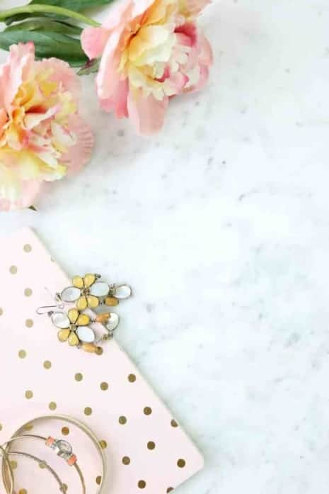 Flower flatlay on marble background