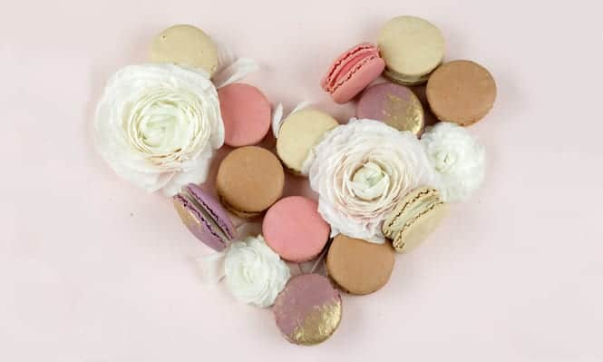 macaroon and flower heart
